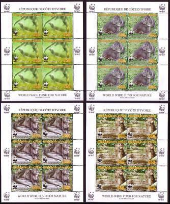 Ivory Coast WWF Speckle-throated Otter 4 Sheetlets of 6 stamps reprint 6 sets