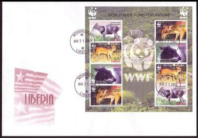 Liberia WWF Duikers FDC Sheetlet of 8 stamps / 2 sets