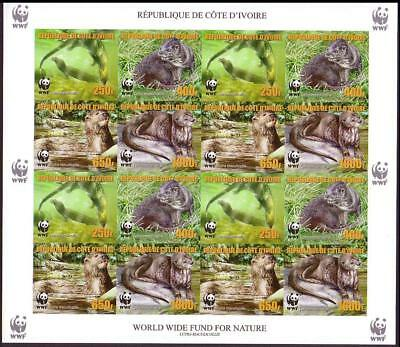 Ivory Coast WWF Speckle-throated Otter Imperforated Sheetlet of 4 sets reprint