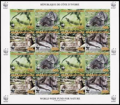 Ivory Coast WWF Speckle-throated Otter imperforated Sheetlet of 4 sets /16