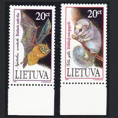Lithuania Red Book of Lithuania Mammals 2v with bottom margins SG#572-573