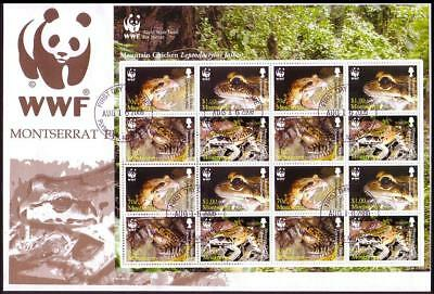 Montserrat WWF Mountain Chicken Frog FDC Sheetlet of 16 stamps / 4 sets