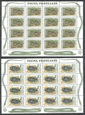 Moldova WWF Aesculapian Snake 2 accompanying Sheetlets of 16 stamps each