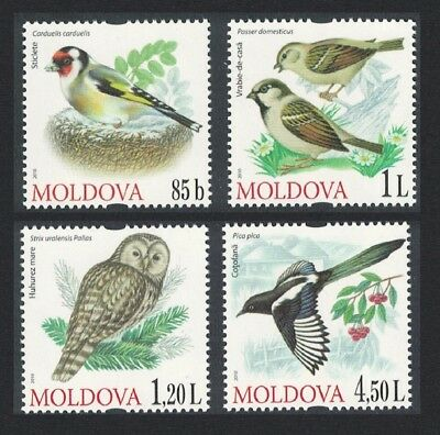 Moldova Owl Magpie Goldfinch Sparrow Birds 4v issue 2010 MI#698-701