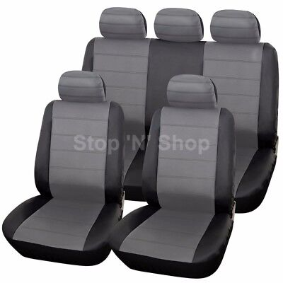 BLACK GREY LEATHER LOOK CAR SEAT COVERS COVER SET For Nissan Qashqai 2007 - 2013