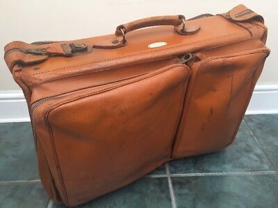 Vintage Retro Tan Genuine Leather Suitcase Hanging Suit Weekend Overnight Bag