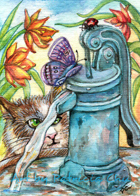 """ACEO LE Art Card Print 2.5x3.5/"""" Cat and Goldfish /"""" Indoor Animal Art by Patricia"""