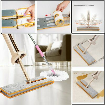 Self-Wringing Double Sided Lazy Flat Magic Mop Telescopic  Cleaning Tool UK