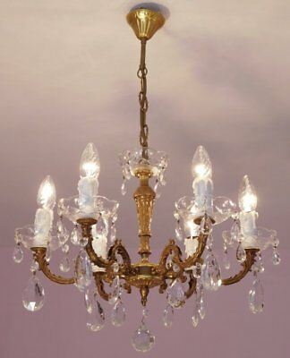 Beautiful 6 Light Vintage French Crystal and Bronze Chandelier