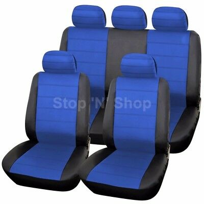 BLACK BLUE LEATHER LOOK CAR SEAT COVERS COVER SET For Nissan Qashqai 2007 - 2013