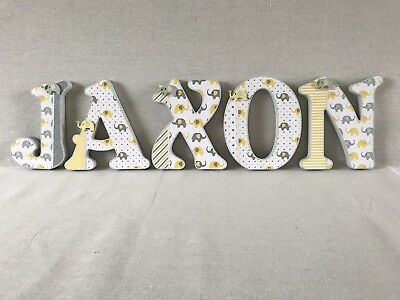20cm Wooden Letters ~elephant Design~nursery Room Decor~baby Shower~yellow Grey