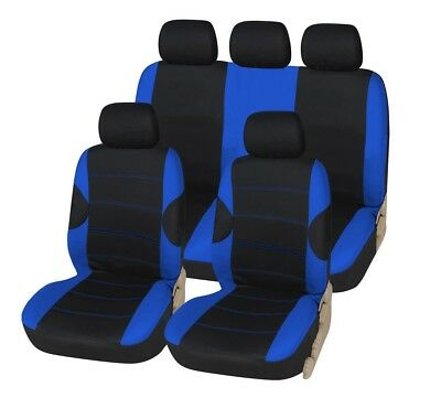 BLACK BLUE RACING CAR SEAT COVERS COVER SET For Nissan Qashqai 2007 - 2013