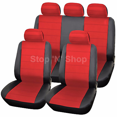 BLACK RED LEATHER LOOK CAR SEAT COVERS COVER SET For Nissan Qashqai 2007 - 2013