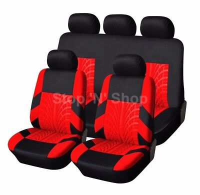 BLACK RED TRAX CAR SEAT COVERS COVER SET For Nissan Qashqai 2007 - 2013