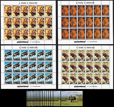 Sao Tome Wild Animals Elephant Tiger Lion Full Sheets+18 MSs HUGE Cat. Value!