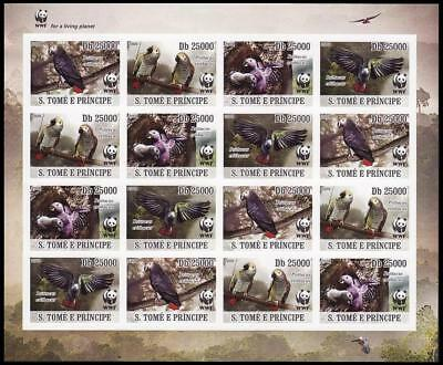 Sao Tome Birds WWF Grey Parrot Imperforated Sheetlet of 4 sets