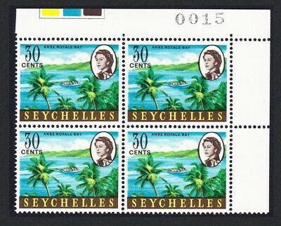 Seychelles Anse Bay 1v 30 cents Corner Block of 4 with Control Number SG#200a