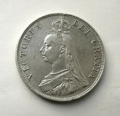 1890 Victoria Jubilee Silver Double FLORIN Coin