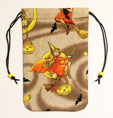"""Witch Tarot Bag Drawstring Pouch 5""""x7"""" lined, for card decks Witchy Witch Selene"""