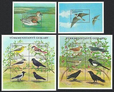 Turkmenistan Birds 2 Sheetlets + 2 MSs SG#MS111-MS112