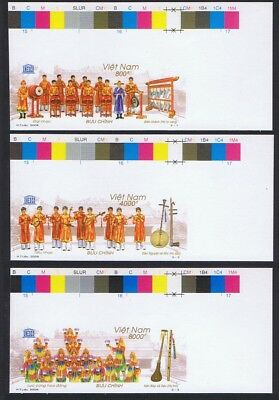 Vietnam Court Music 3v Imperf Corners with Traffic Lights SUPERB SG#2763-2765
