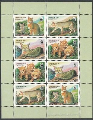 Tajikistan WWF Reed Cat Sheetlet of 2 sets / 8 stamps SG#189-192 SC#185 a-d