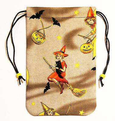 """Witch Tarot Bag Drawstring Pouch 5""""x7"""" lined, for card decks Witchy Witch Willow"""