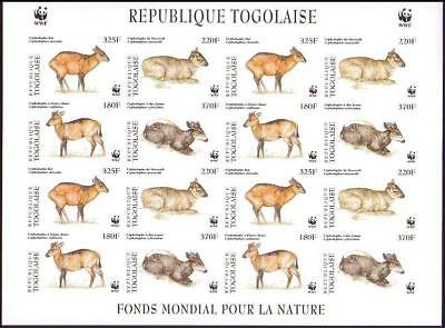 Togo WWF West African Duikers Imperforated Sheetlet of 4 sets