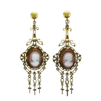 Antique Lavender Agate Cameo and Seed Pearl Earrings in 10K Yellow Gold | FJ