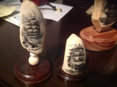 Amazing Scrimshaw Figures -2-One Signed Beautiful Done Must See!