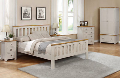 Thornton Grey & Oak Traditional Solid Wooden Bed Frame 3FT, 4FT6 & 5FT