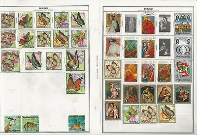 Burundi & Burma Collection on 24 Harris Pages, Colorful Lot, Birds, Butterflies