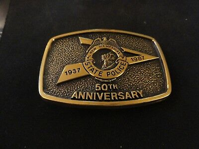 NEW HAMPSHIRE STATE POLICE TROOPER 50th Anniversary BRASS BELT BUCKLE 1937-1987