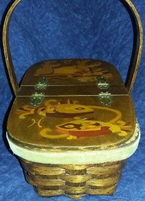 Signed Hand Painted Hinged Wooden Picnic Basket Weave VTG  purse
