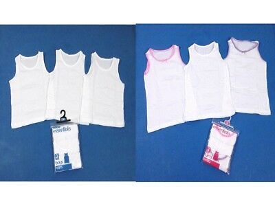 Boys Girls Just Essentials 3 Pack Vests Cami Top Cotton School Vest - Multi Pack