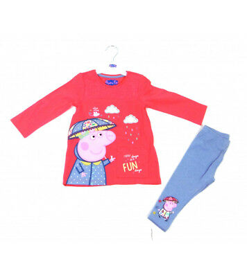 Girls Toddler 2 Piece Peppa Pig Leggings And Top Set -Long Sleeved Top & Bottoms