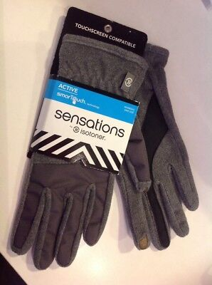 NEW ~ Sensations by Isotoner Gray Womens Gloves   @ SmarTouch One Size
