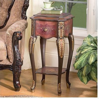 18th Century Baroque Antique Replica Tiered Top Flowered Drawer Side Table