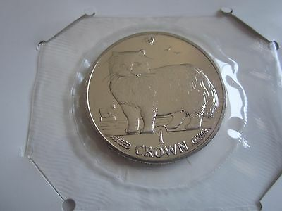 PERSIAN CAT CROWN COIN-Isle Of Man UNCIRCULATED with trifold holder - 1989 (JC)