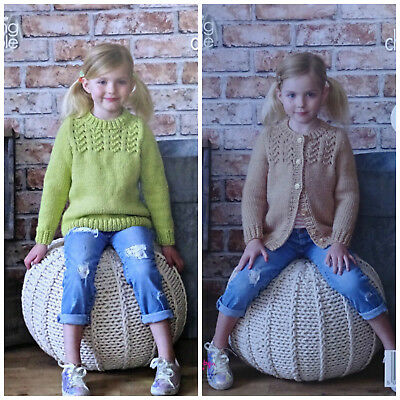 KNITTING PATTERN Girls Easy Knit RoundNeck Cardigan &Jumper Chunky KingCole 4970