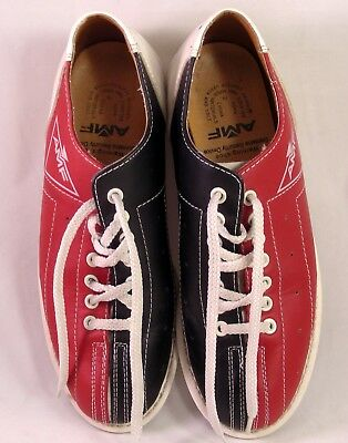 Vintage Style Bowling Shoes All Leather Chrome Slides AMF Unisex M/F 6 1/2/8