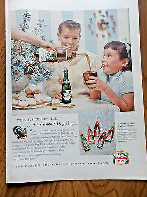 1955 Canada Dry Soda Pop Drink Ad When it's Turkey Time It's Canada Dry time
