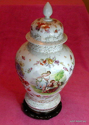"Von Schierholz (Dresden Floral Maidens) 12 1/2"" COVERED URN/VASE & BASE Kaufman"