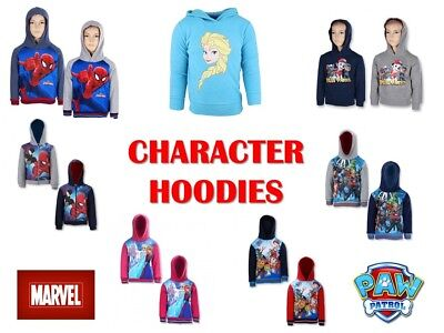Childrens Boys Girls Official Character Hoodie Pull Over Hoody Marvel Paw Patrol