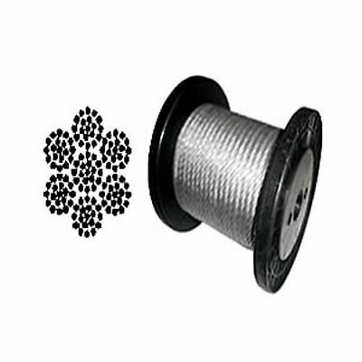 "Cable Railing Type 304 Stainless Steel Wire Rope Cable, 1/4"", 7x19, Coil & Reel"