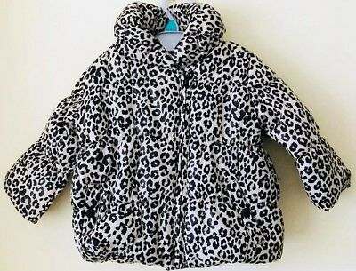 Baby Girls Ex Store Leopard Print Padded Coat/Jacket 0M To 24M