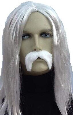 Grey Long Straight Fancy Dress Wig & Thick White Droop Moustache. Uk Dispatch