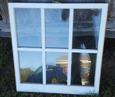 VINTAGE SASH ANTIQUE WOOD WINDOW 26x28 6 PANE DOUBLE PANE 6 PANE PICTURE FRAME