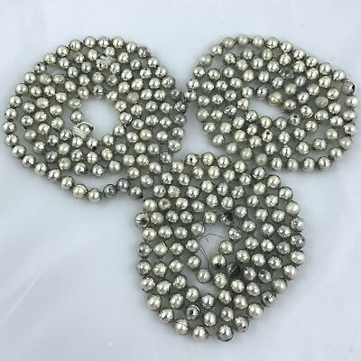 """Vintage Silver Mercury Glass Bead Garland 3 strands 139 inches total 1/2"""" beads"""