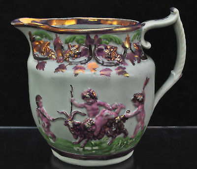 Antique Staffordshire Strawberry Lustre Pearlware Putti Pitcher Jug c 1800